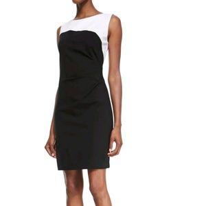 Tahari color block black white dress 12